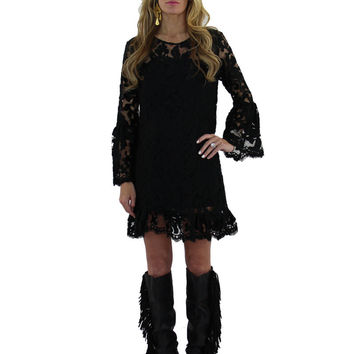 Alexis Eloy Dress in Black Floral Lace