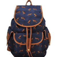 Blue Fox Print Fall Style Backpack