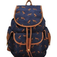 Fox Print Drawstring Multi-Pocket Backpack