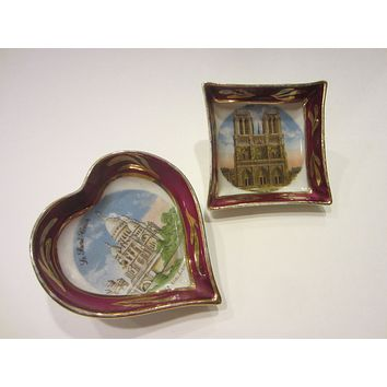 Limoges France Miniature Heart Square Architectural Dishes