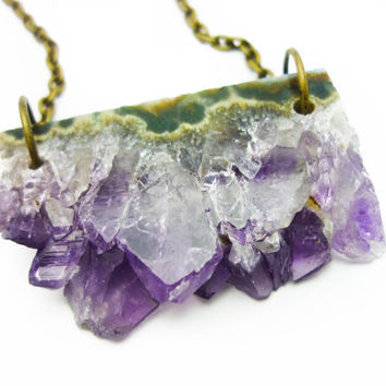 Druzy Amethyst Crystal Quartz Bar Slice Necklace n.45