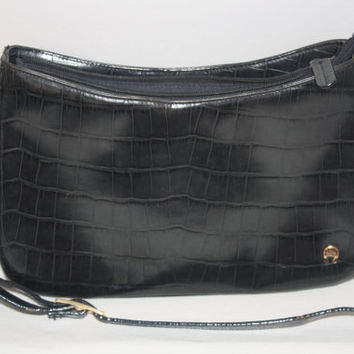 Etienne Aigner Crocodile Embossed Black Leather Purse, Shoulder Handbag