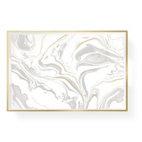 Marble Print Lacquer Tray with Gold Accents
