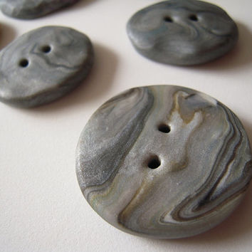Handmade polymer clay button, marble look, 1 & 1/2 inch, grey with mustard, free form button,USA made, knit cowl,shrug,or purse accessory