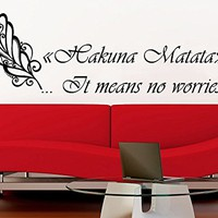 Wall Decals Quotes Vinyl Sticker Decal Quote Feather Hakuna Matata It means no worries Home Decor Bedroom Art Design Interior NS729