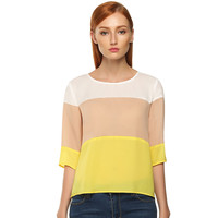 Yellow or Blue Color Blocked Top
