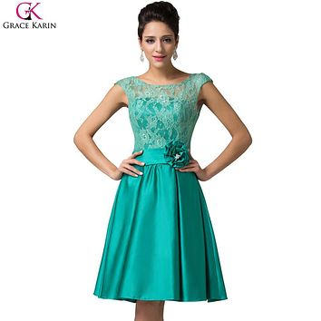 Elegant Short Evening Dresses 2017 Grace Karin Sleeveless Satin Lace Mother Of The Bride Dress Formal For Wedding Party CL6116