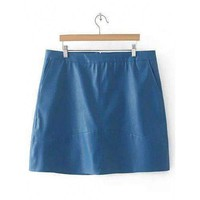 Slim Zipper Flying PU Leather Skirt - Distant Blue 4xl
