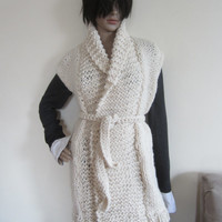 IVORY KNIT VEST/ chunky knit vest / Winter white vest/ womens cardigan/ ivory sweater/cardigan/womens knit cardigan