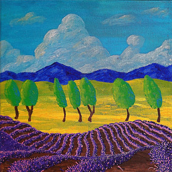 """Lavender In Provence (ORIGINAL ACRYLIC PAINTING) 8"""" x 8"""" by Mike Kraus"""