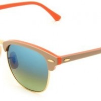 Ray-Ban Clubmaster Clubmaster Square Sunglasses,Beige On Orange Frame/Green Lens,51 mm