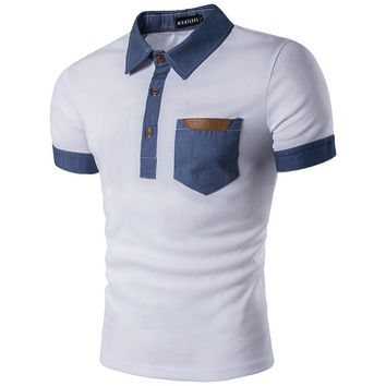 Men's Polo Shirt Casual Patchwork Pocket
