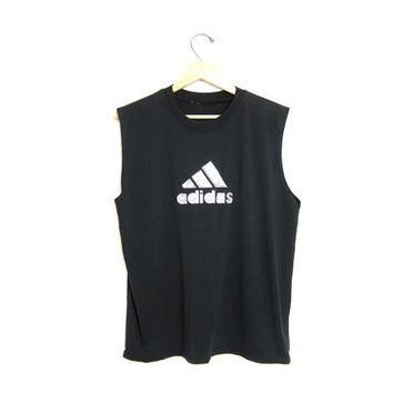 80s Adidas tank top tshirt Weight Training vintage 90s black tee basic sports tee shir
