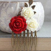 Red Rose Bridal Comb Ivory Cream Floral Collage Christmas Wedding Flowers for Hair Bridesmaid Gift Cardinal Red and Ivory Cream Branch Comb