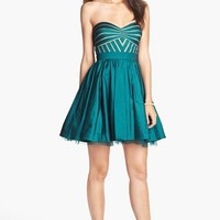 Aidan Mattox Strapless Taffeta Fit & Flare Dress (Online Only) | Nordstrom