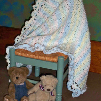 Handmade Crochet, lightweight, for boy or girl, baby afghan, newborn, shower gift, take home baby from the hospital, car seat blanket