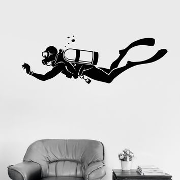 Vinyl Wall Decal Diver Extreme Sports Water Bathroom Decor Stickers Unique Gift (ig3011)