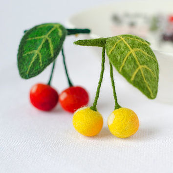 Felt Cherries Brooch / red yellow berries cherry pins brooches / handmade felted brooches pins