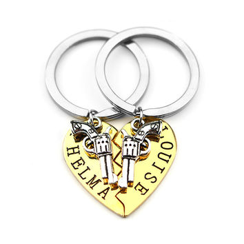 01bfd706 2pcs THELMA LOUISE Keychain Keyring Guns Heart Friendship Adventure Freedom Best  Friends Forever BFF Key Chain