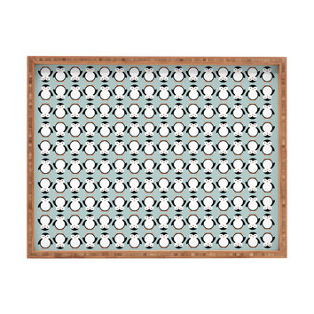 Allyson Johnson Penguin Pattern Rectangular Tray