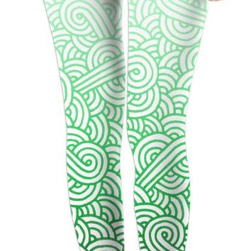 Gradient green and white swirls doodles Leggings