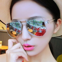 Octagonal Shape Transparent Frame Sunglasses