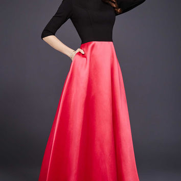 Red Three Quarter Sleeve Evening Dress 24252