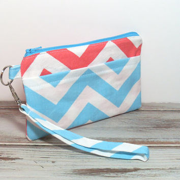 Coral Aqua Wristlet, Wristlet Clutch, Clutch for Phone, Cell Phone Clutch, Phone Wallet, Chevron Wristlet, Gifts for Groups, School Wristlet