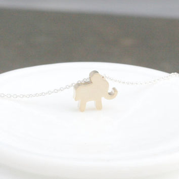 Gold Elephant Necklace - Gold Elephant Charm - Lucky Elephant Necklace