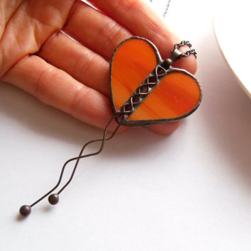Stained glass necklace, heart necklace, copper wire, sculpture pendant, orange red statement, contemporary jewelry, artistic necklace, Love