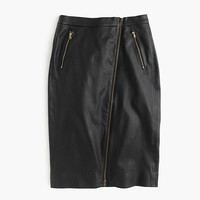J.Crew Womens Petite Collection Leather Motorcycle Pencil Skirt