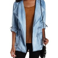 Open Front Hooded Denim Chambray Anorak Jacket