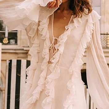 Maybe I'm Amazed White Chiffon Long Sleeve Ruffle V Neck Lace Up Flare A Line Mini Dress
