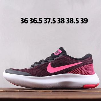 AUGUAU N127 Nike Flex Free Experience Rn 7 Lightweight Breathable Running Shoes Pink Black