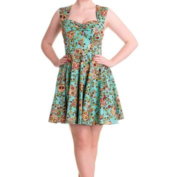Rockabilly Love Calavera Day of the Dead Flower Sugar Skull Turquoise Dress
