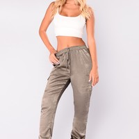 Claire Satin Jogger Pants - Olive
