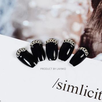 Long Punk fake nails black press on false nail tips with silver chain for party and show 24Pcs