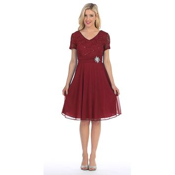 Celavie 6320 - Knee Length Burgundy Dress With Short Sleeves Lace Bodice