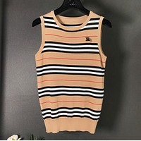 Burberry Summer New Fashion Stripe Vest Top Women Khaki