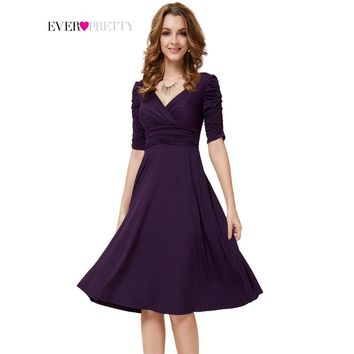 Cocktail Dresses Ever Pretty 2017 As03632 3/4 Sleeves Hot Selling V Neck Pleated High Stretch Plus Size Short Dresses Women - Beauty Ticks