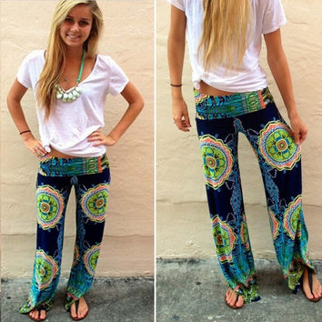 New Women Casual Boho Floral Harem Yoga Running Loose Long Pants Trousers [8403196103]