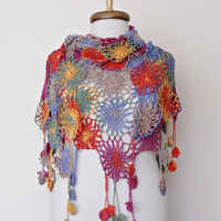 Multicolor Soft Cotton Bridal Shawl-Ready for shipping-Express Shipping