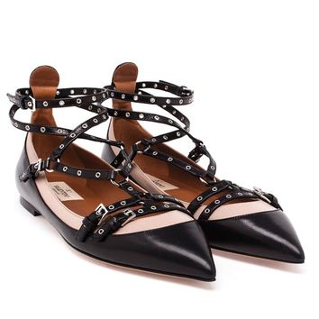 VALENTINO | Leather Ballerina Flats | brownsfashion.com | The Finest Edit of Luxury Fashion | Clothes, Shoes, Bags and Accessories for Men & Women