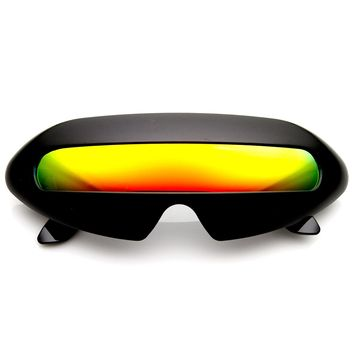 Futuristic Cyclops Neon Shield Color Mirror Lens Wrap Sunglasses