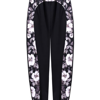 Casual Floral Print Patchwork Elastic High Waist Cuffed Jogger Pants