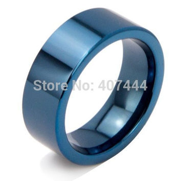 Free Shipping USA UK Canada Russia Brazil Hot Sales 8MM Shiny Blue Pipe His/Her The Lord New Men's Fashion Tungsten Wedding Ring