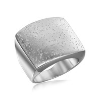 Sterling Silver Rhodium Plated Stardust Motif Flat Ring: Size 8