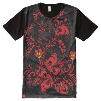 T-Shirt Floral Ornaments All-Over Printed