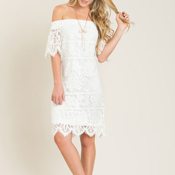 Emmy White Off the Shoulder Lace Dress