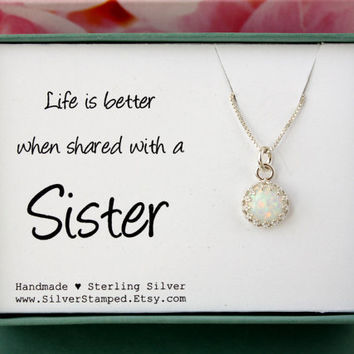 Gift for sister necklace sterling silver lab opal in crown setting on a chain vintage style in a gift box with card big sis lil sis